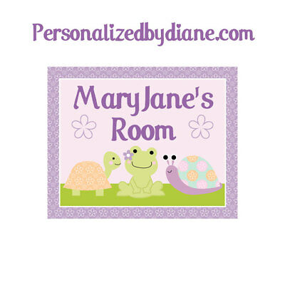 "Personalized ""Puddles Frog Turtles"" 8x10 Unframed Nursery Art Print"