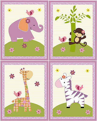 "A set of 4 ""Little Friends Girl Animals"" 8x10 Nursery Art Prints"
