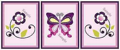 "A set of 3 ""Butterflies Butterfly Lane"" 8x10 Nursery Art Prints"