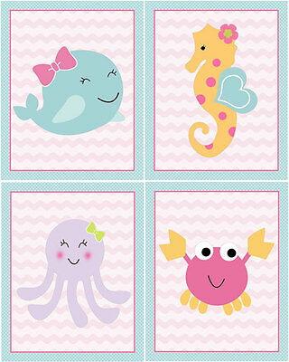 "A set of 4 ""Sea Sweeties Whale Octopus Seahorse Crab"" 8x10 Nursery Art Prints"