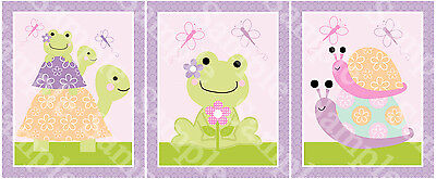"A set of 3 ""Puddles Frog/Turtles/Snail/Garden"" 8x10 Nursery Art Prints"