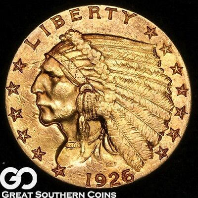 1926 Quarter Eagle, $2.5 Gold Indian, Nice Strike, Lustrous Gold Coin * Free S/H