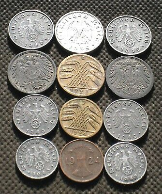 Lot Of Twelve Old Coins Of Germany (Empire & Weimar & Third Reich) - Mix 880