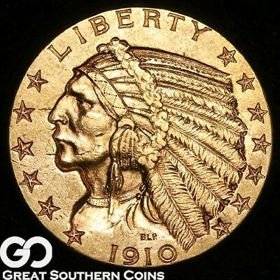 1910-S Half Eagle, $5 Gold Indian ** Free Shipping!