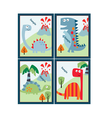 "Set of 4 Unframed ""Dinosaur Roar""  8x10 inch Nursery Art Prints"