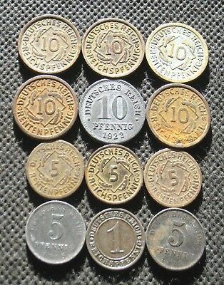 Lot Of Twelve Old Coins Of Germany (Empire & Weimar & Third Reich) - Mix 882