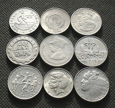 Nine Old Commemorative Coins Of Poland (Solidarnosc Moscow Olympic) -  Mix 884