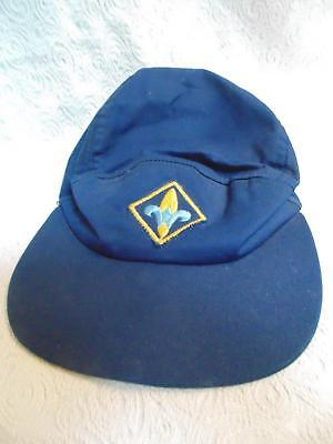 Vtg 70's Boy Scouts Cap BSA Blue Webelos Hat Size 7 Camp Lejeune NC Named