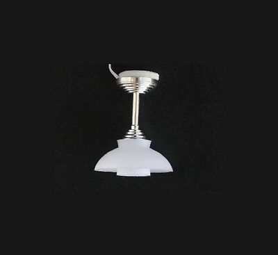 Dollhouse Miniature 12 volt Modern Chrome Ceiling Light Fixture #WCEL249S