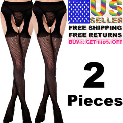 Women Garter Belt Stay Up Fishnet Thigh High Stocking Sock Tights Lace Pantyhose