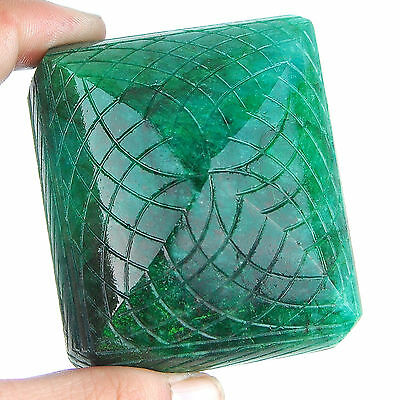 1245 Cts Certified Natural Huge Museum Size Emerald Rare Moghul Carving Work