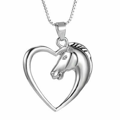 Women Men Love Heart Silver Horse Pendant Necklace Sweater Chain Jewelry Gifts