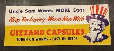 LEE'S GIZZARD CAPSULES Poster Chicken Poultry VET UNCLE SAM WWII Patriotic EGGS