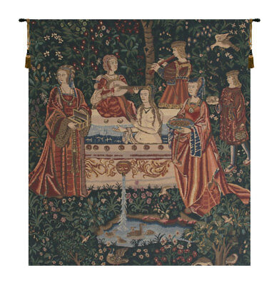 Lady in the Bath Belgian Woven Tapestry Wall Hanging Home Decor Medieval Art