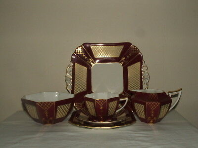 Shelley Art Deco Queen Anne Maroon Gold & Fawn Pattern Tea-4-One Truly Stunning