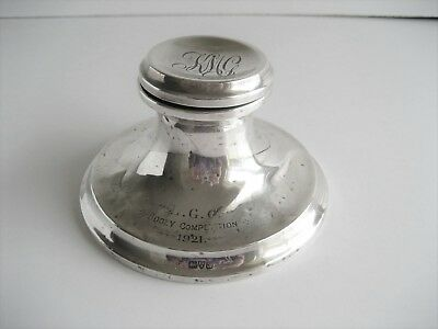 Solid Silver Weighted Capstan Inkwell Chester 1919 Golf Interest