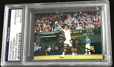 Roger Federer Psa Dna Certified Signed Photograph Picture Autograph Wimbledon
