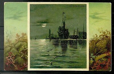 Postcard : Glasgow Shipping 'On the Clyde' Moonlit scene
