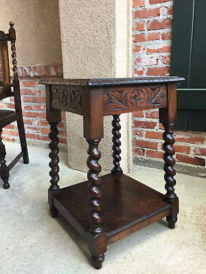 Antique English Carved Oak BARLEY TWIST End Side Table Two Tier Jacobean