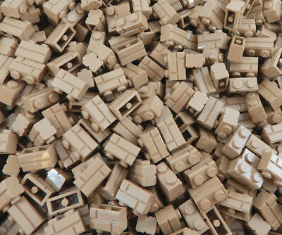 100 NEW DARK TAN 1x2 LEGO MASONRY BRICK PIECES bulk part 98283 wall brown