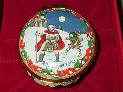 Halcyon Days Enamel Trinket Box, Christmas 1990