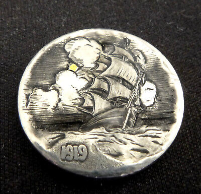Hobo Nickel 1919 Sailing Ship with 24K gold inlay tmaher