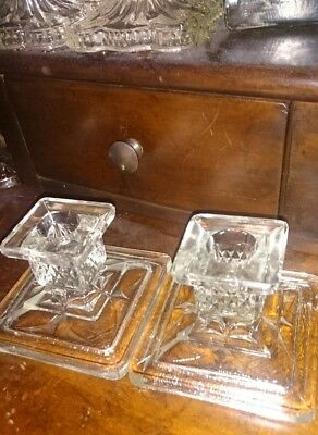 Pair of Cut Glass Candlestick Holders.