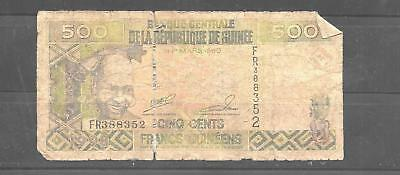 guinea #36 ag circulated 500 francs OLD BANKNOTE PAPER MONEY CURRENCY BILL NOTE
