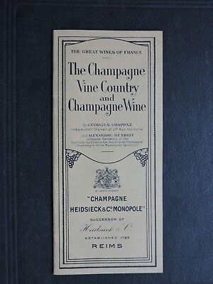 1920 Reims France Heidsieck Champagne Wine Ad Booklet ! Illustrated Alcohol Book