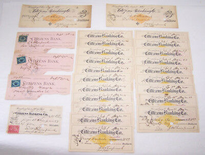 Lot of 26 CITIZENS BANK Checks ~ Perrysburg, OH ~ 1882-1900