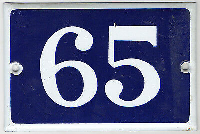 Old blue French house number 65 door gate plate plaque enamel steel metal sign