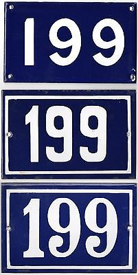 Old blue French house number 199 661 door gate wall street sign plate plaque