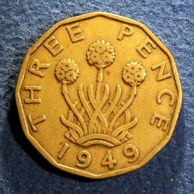Scarce British 3 pence coin - 1949