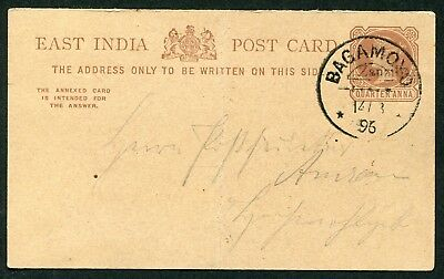 Zanzibar 1895 ¼a+¼a on India postal stationery reply card P.3b (outward ½) used