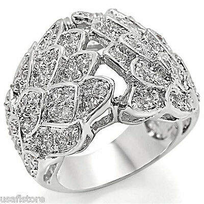 CZ Pave Silver White Gold Plated Ladies Cocktail Ring Size 7