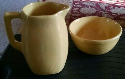 Bybee Pottery Pitcher & Bowl Yellow Hand Made Rustic Style
