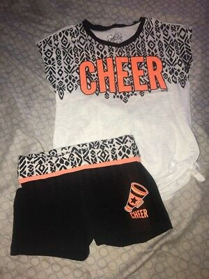Girl's Justice Cheer Short Outfit Orange Black Size 7
