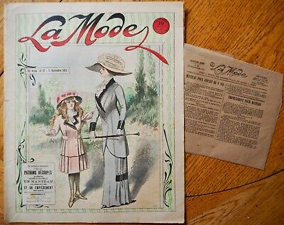 La  Mode Pattern N°37 of 1910 French Fashion Magazine