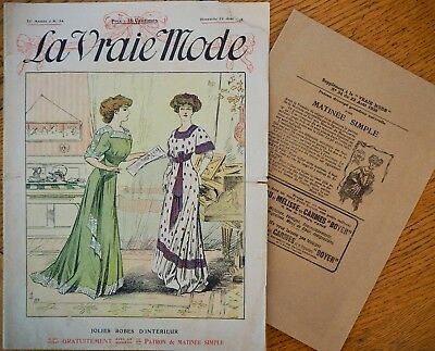 La Vraie Mode Pattern N°34 of 1908 French Fashion Magazine