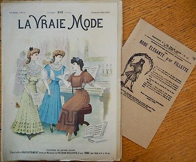La Vraie Mode Pattern N°10 of 1908 French Fashion Magazine