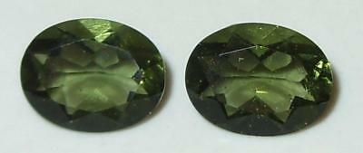 2.82ct Pair Faceted TOP QUALITY Natural Czechoslovakia Moldavite Oval Cut 9x7mm
