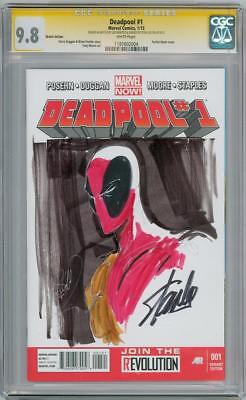 DEADPOOL #1 CGC 9.8 SIGNATURE SERIES SIGNED x2 STAN LEE BENITEZ SKETCH MOVIE
