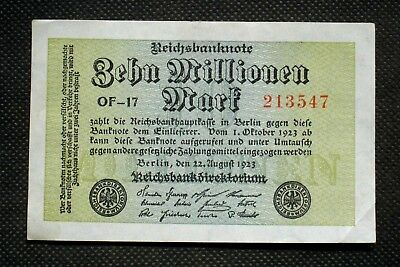Old Banknote Germany 10,000,000 Mark 1923 Weimar Republic Of-17 Hyperinflation