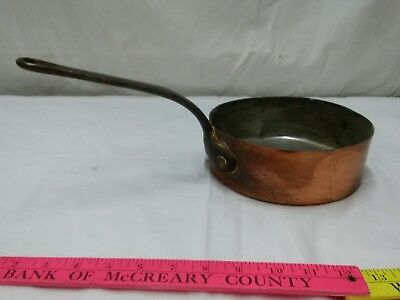 """Vintage heavy French 7"""" Copper Sauce Pot Pan Cast Iron Handle Tin Lined"""