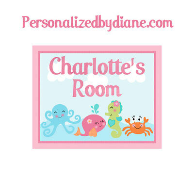 "Personalized ""Under the Sea Pink Whale Girl"" 8x10 inch Nursery Art Free Ship!"