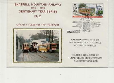 Isle of Man 1995 Railway Cover, TPO line up at Laxey, Snaefell handstamp