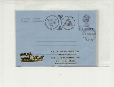 Isle of Man Overprinted Airletter for ASDA New York Exhibition 1980