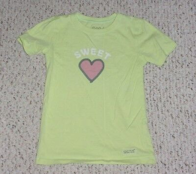 """Sweet"" Lime Green Good Kids by Life is Good S/S T-Shirt w/ Heart, Size 4T, VGUC"
