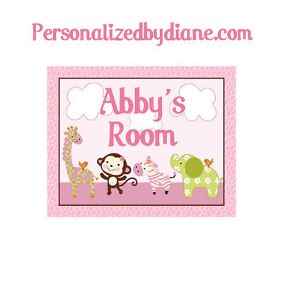 "Personalized ""Jungle Jill Girl Animals"" 8x10 inch Nursery Art Print Free Ship!"