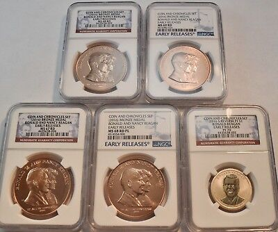 Lot (5) NGC 2016 Reagan Coin and Chronicels Set Medals PF70 Reverse PROOF Dollar